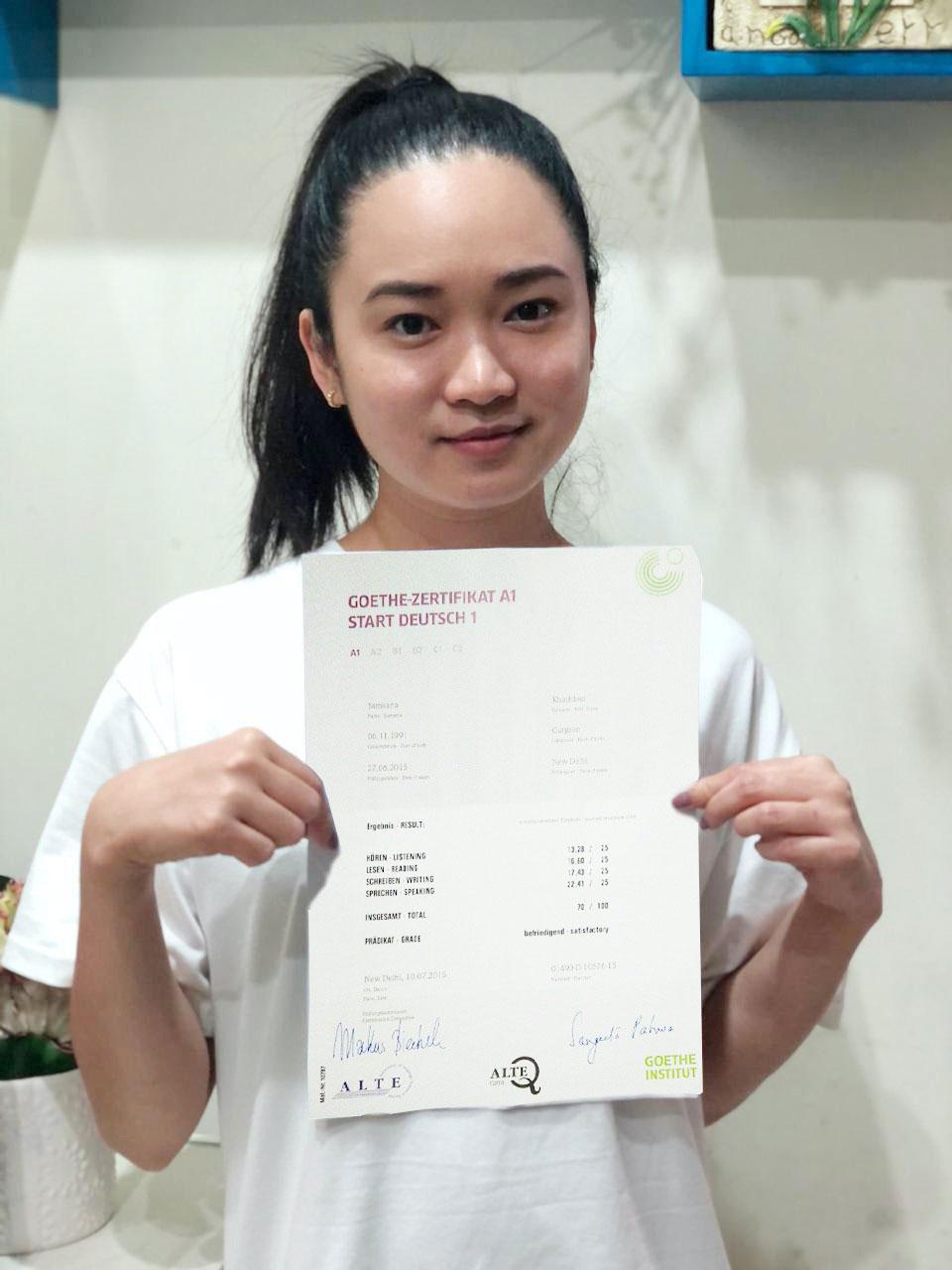Cherie hat ihr A1 Zertifikat erfolgreich bestanden