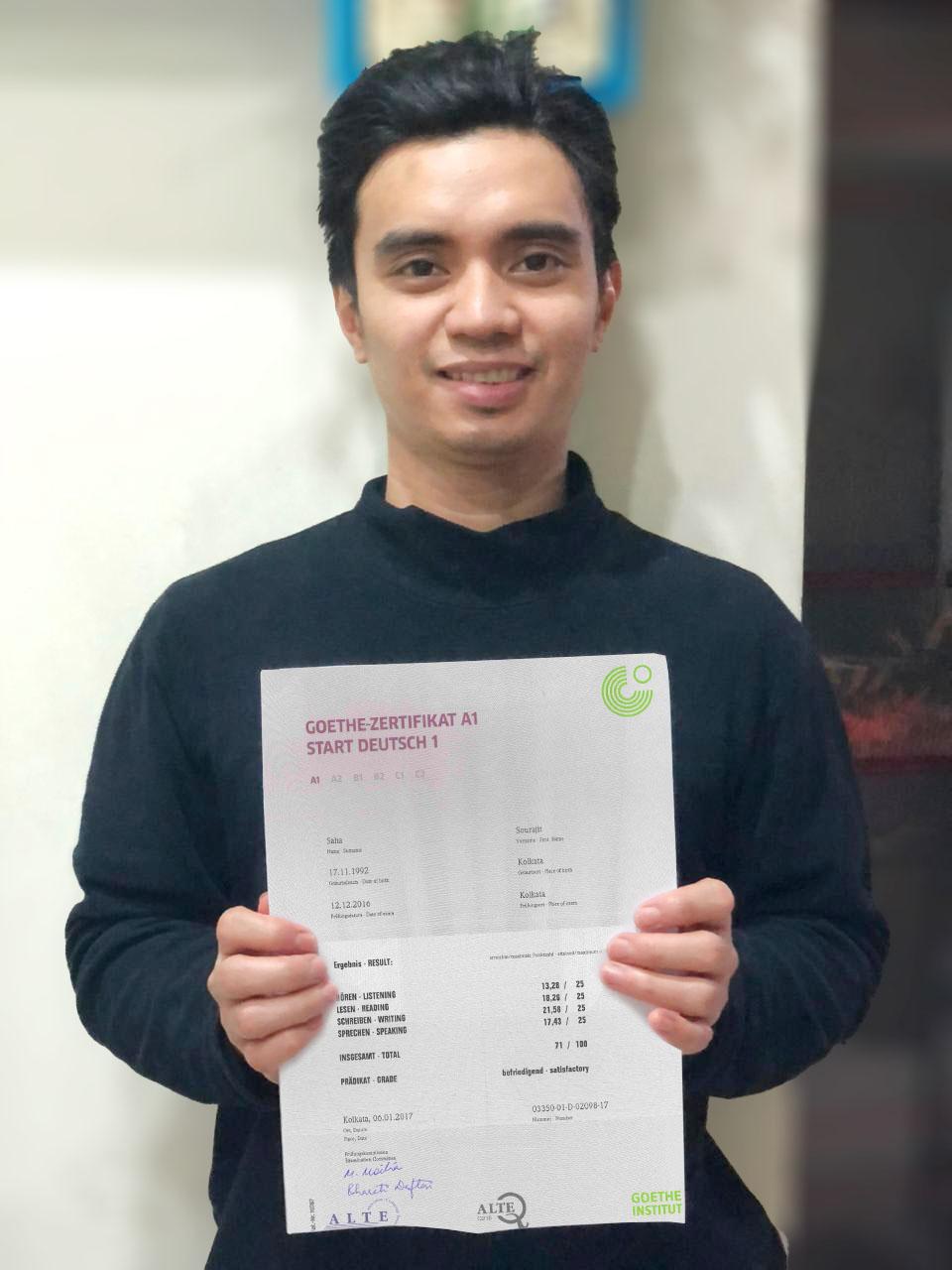 Nathaniel hat sein A1 Zertifikat erfolgreich bestanden